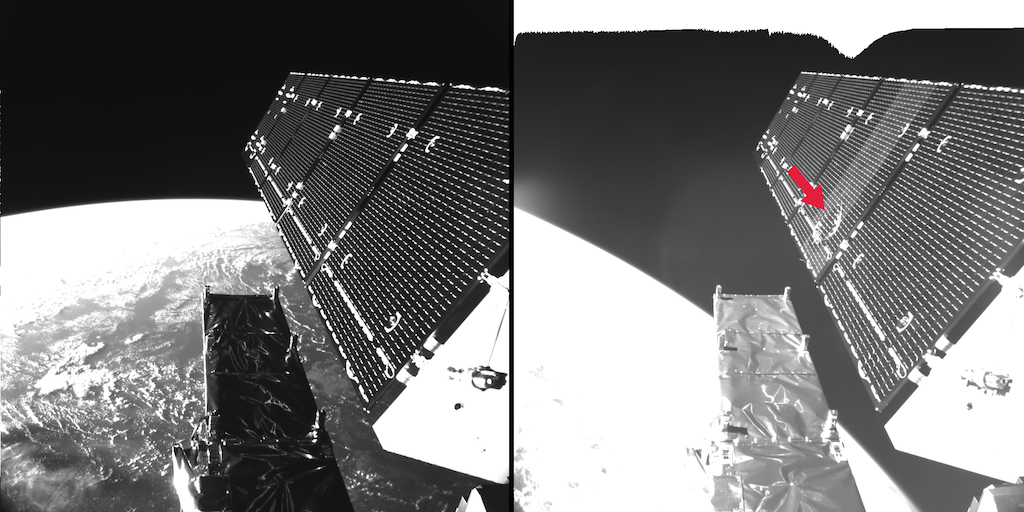 Sentinel 1A fragment impact in space copy