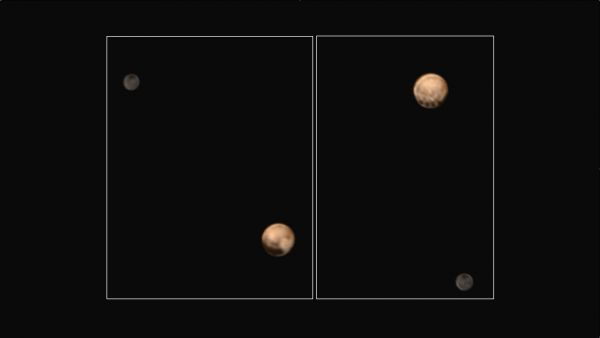 7-1-15 Pluto Charon color hemispheres unannotated JHUAPL NASA SWRI