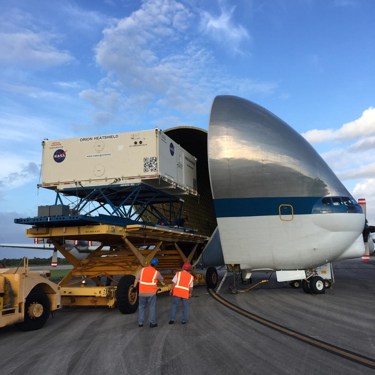 orion heat shield arrival